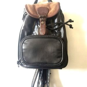 Black Brown Mini Leather Backpack
